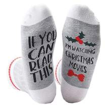 Women Watching Christmas Movies Socks,If You Can Read This Funny Unisex Novelty Socks