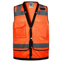 Class 2 High Visibility Breathable mesh Safety Vest With pockets and Reflective Strips, Meets ANSI/ISEA Standards (Large, Orange)