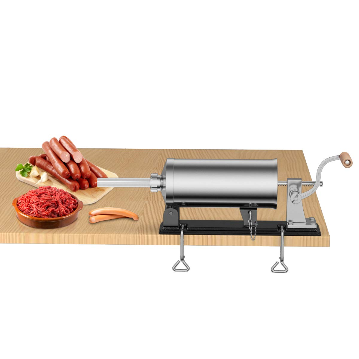 Goplus 8Lb/4.8L Horizontal Sausage Stuffer Maker Stainless Steel Meat Filler Kit w/ 4 Sizes of Food-Grade Sausage Tubes, Commercial Home Use