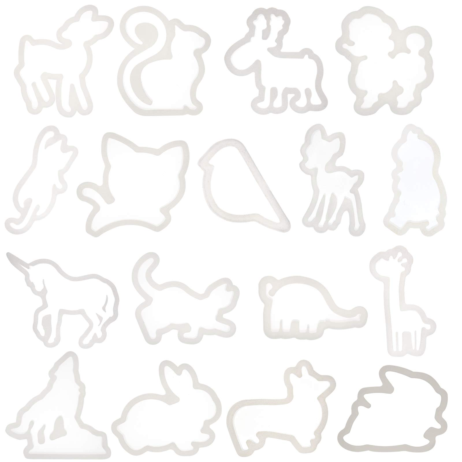 Funshowcase Cute Animals Silicone Mold Trays for Crafting, Resin Epoxy, Jewelry Making 17 in Set Bundle