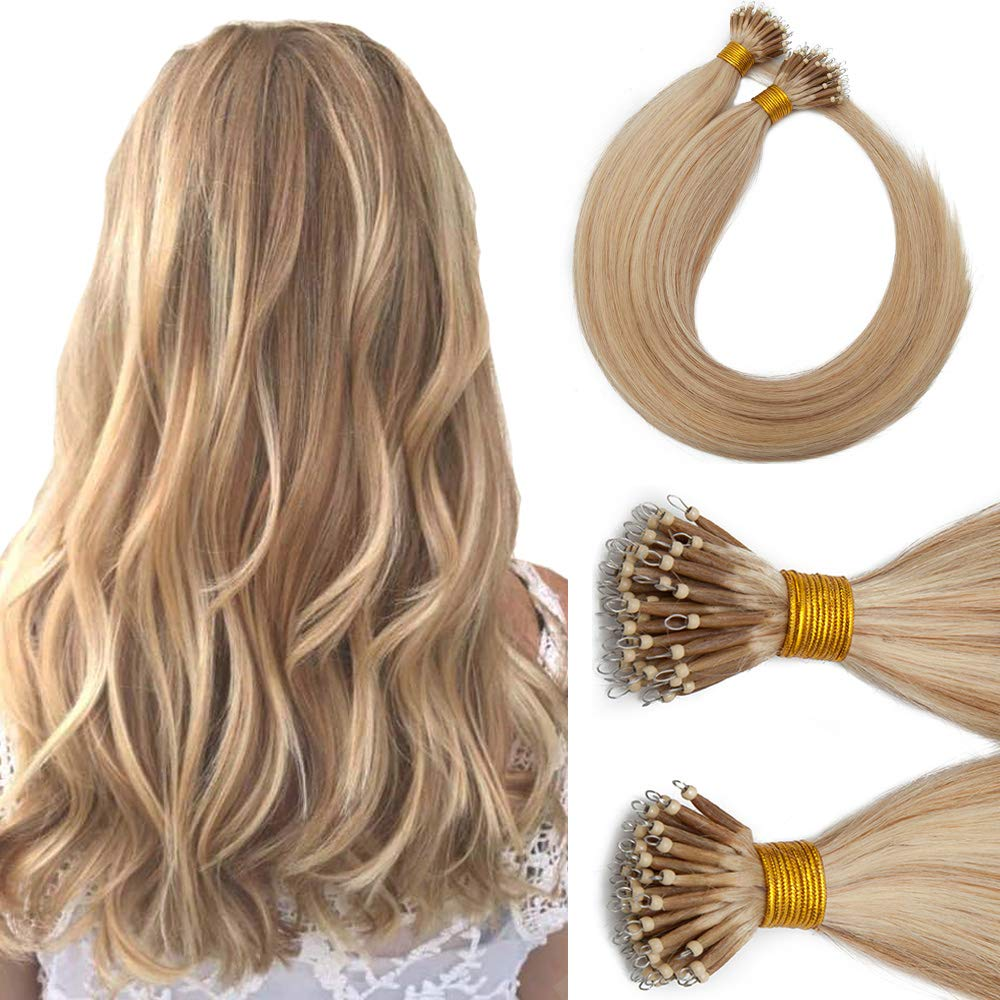 Nano Tip Remy Hair Extensions Nano Ring Human Hair Extensions Cold Fushion Tipped Real Hair Micro Beads Links Hairpiece Full Head Brazilian Hair For Women 16inch 50g/PACK 50 Strands #18P613