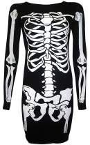 For G and PL Women's Halloween Costume Skeleton Funny Long Sleeve Midi Dresses