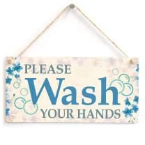 "Meijiafei Please Wash Your Hands Sign - Blue Flower Bathroom Plaque 10"" X 5"""