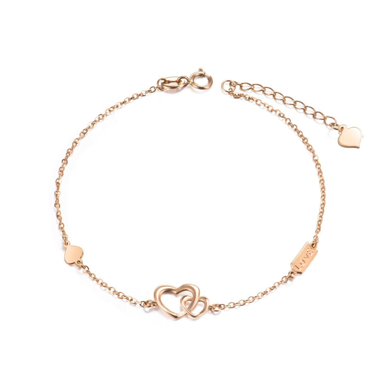 """SISGEM 18k Real Rose Gold Heart Bracelet, Engraved Love Women Gold Bracelet, for Her, 6.7""""-7.8"""""""