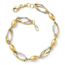 14k Two Tone Yellow Gold Bracelet 7 Inch Fancy Fine Jewelry For Women Gifts For Her