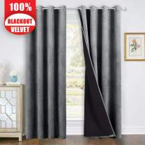 StangH Extra Long Velvet Curtains - Super Soft Velvet Blackout Drapes with Black Lining, Heat Insulated Soundproof Window Treatment Set for Living Room/Basement, Grey, 52 x 108-inch, 2 Pcs