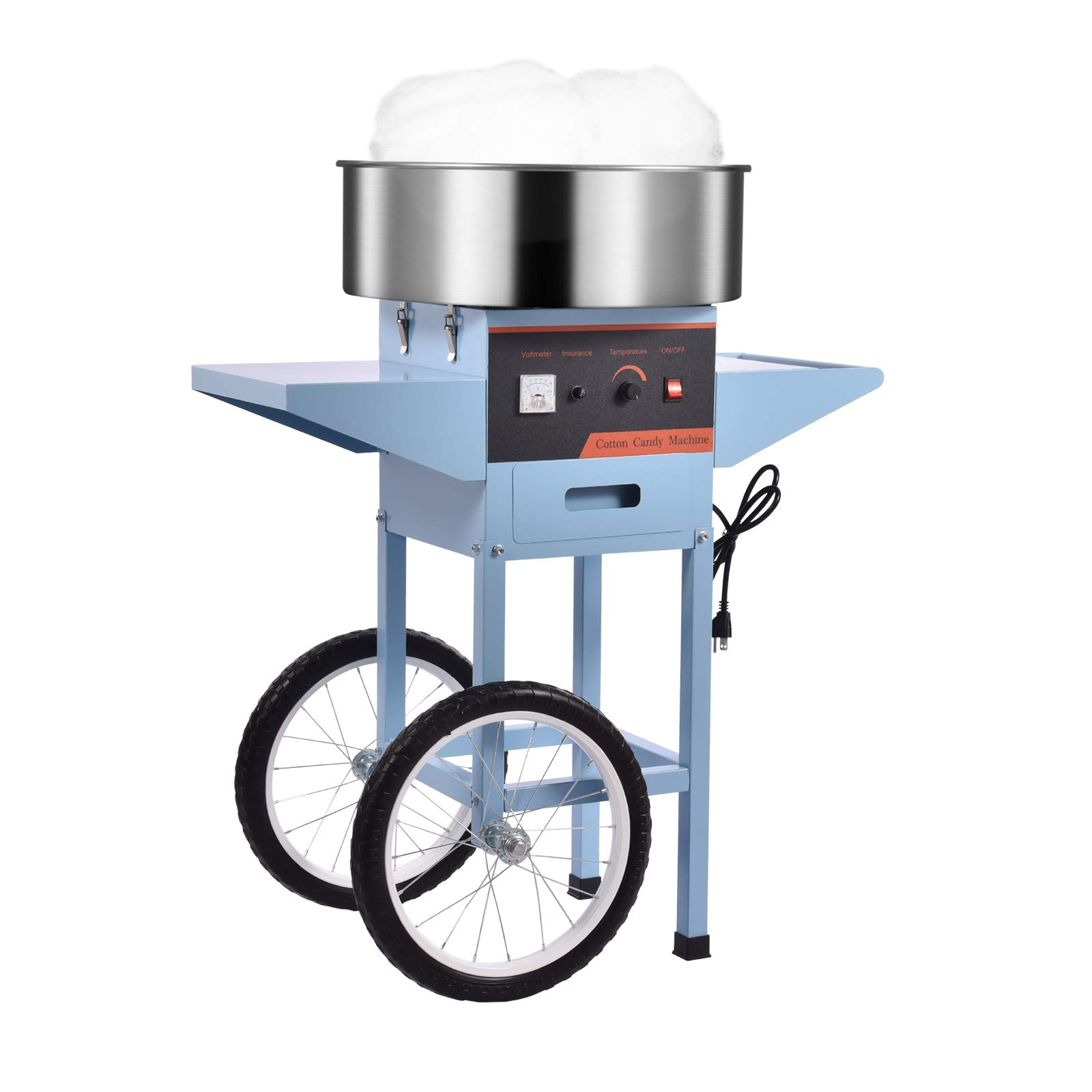 20.5 Inch Commercial Candy Cotton Candy Machine for Kids Electric Floss Maker with Cart Stainless Steel Sugar Spoon with Fuse, Big Drawer Pink for Various Parties, Blue, 1000W