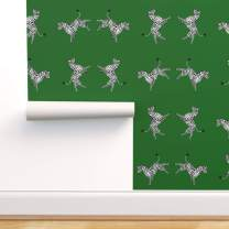 Spoonflower Peel and Stick Removable Wallpaper, Zebra Green Black White Animal Nursery Decor High Five Print, Self-Adhesive Wallpaper 24in x 108in Roll