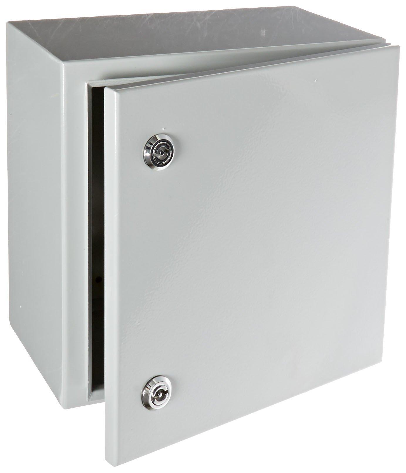 "BUD Industries Series SNB Steel NEMA 4 Sheet Metal Box with Mounting Bracket, 11-51/64"" Width x 11-51/64"" Height x 7-55/64"" Depth, Smooth Gray Finish"
