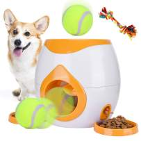 Pet Interactive Toys Dogs Puzzle Food Dispenser Tennis Ball Throwing Fetch Machine FDA Cat Reward Toy Game Animal Training Tool Pets Slow Feeder Bowl (Orange)