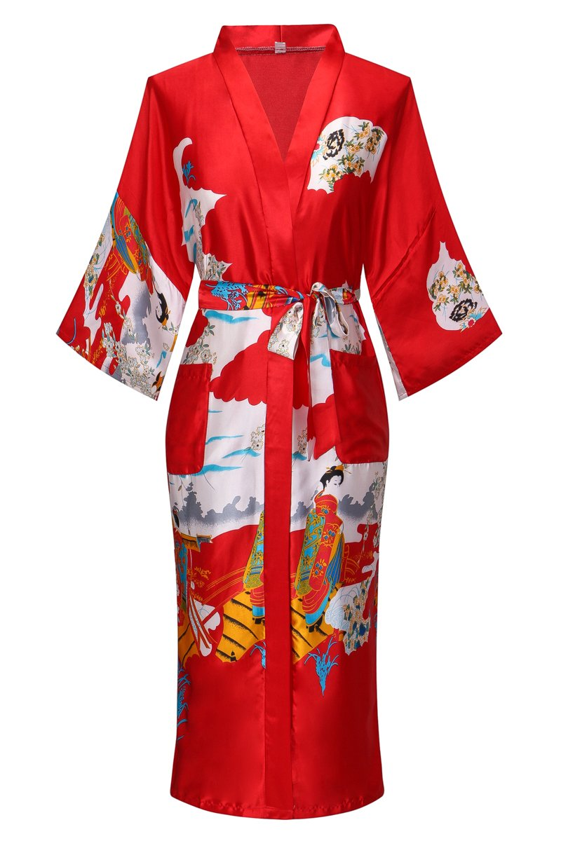 DandyChic Women's Kimono Robes Kimono Imitation Silk Sleepwear Long Lightweight Nightgown