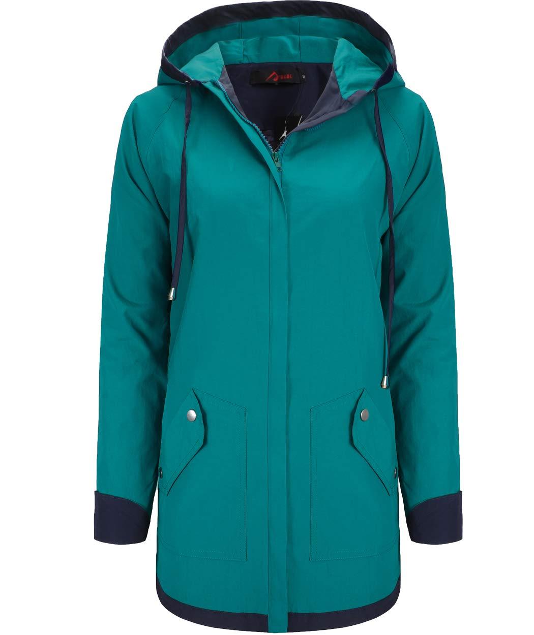 AUU Women's Rain Jacket Waterproof Hooded Raincoat Lightweight Outdoor Patchwork Windbreaker with Lined and Pockets