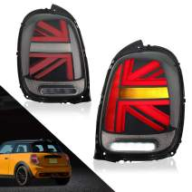 MICROPOWER LED Tail Lights for MINI Cooper F55 F56 F57 2014-2021 with Full LED Bars and Sequential Turn Signal,Driver and Passenger Side(Smoke Red)