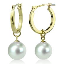 14K Yellow Gold Round White Freshwater Cultured Pearl Hoop Dangle Earrings 7mm