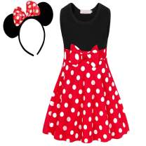 HenzWorld Little Girls Dresses Polka Dots Costume Headband Birthday Party Cosplay Sleeveless Outfits Bowknot 2T-7T