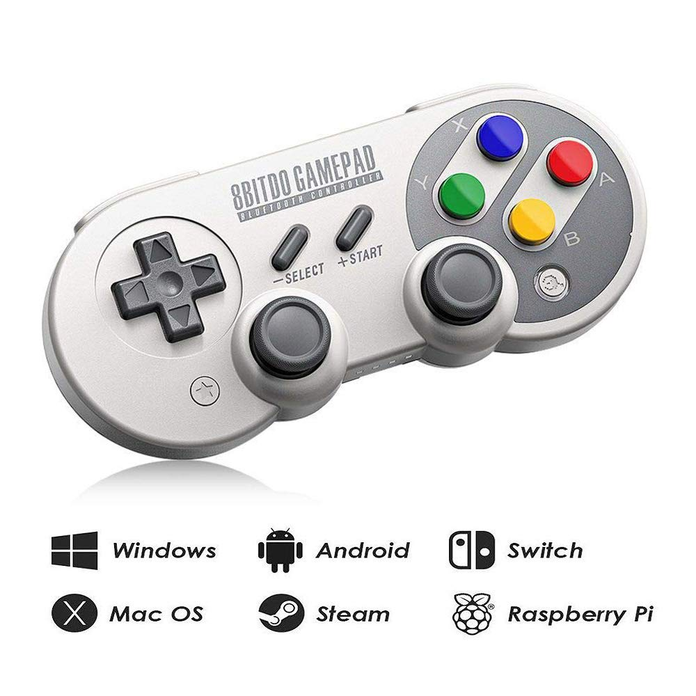 8Bitdo SF30 Pro Wireless Bluetooth Controller with Joysticks Rumble Vibration USB-C Cable Gamepad for Mac PC Android Nintendo Switch Windows macOS Steam With Carrying Case