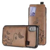 iPhone X Wallet Case, iPhone Xs Case, Slim PU Leather Embossed Butterfly Design with Matching Detachable Slide Out Card Slot Organizer for Women [Butterfly Pull Out - Brown]