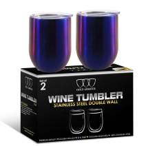 2 Pack Stainless Steel Wine Glass Tumbler with Lid, 12 oz Double Wall Vacuum Insulated Travel Tumbler Cup, Coffee Water Bottle Cup (Rainbow)