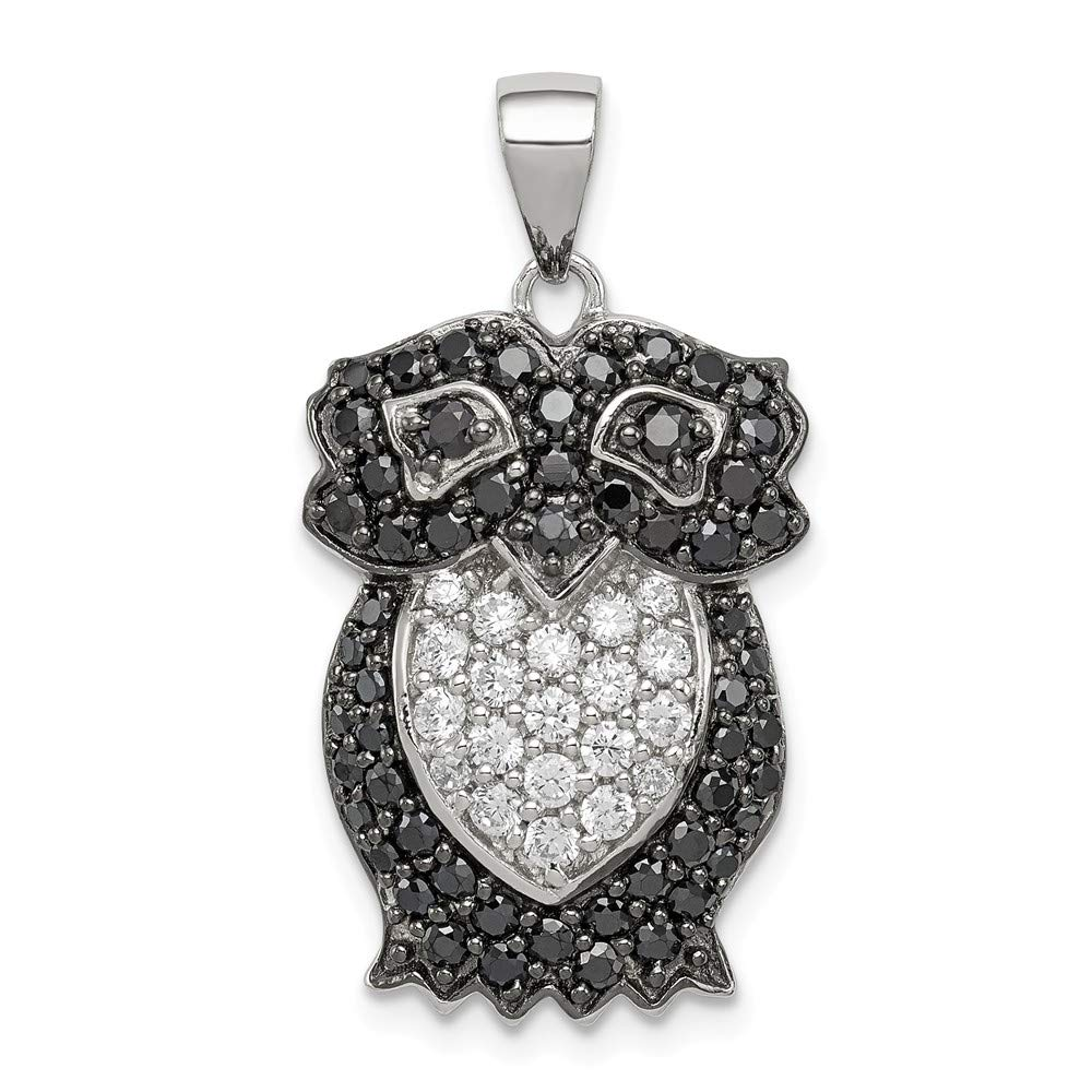 925 Sterling Silver Black White Cubic Zirconia Cz Owl Pendant Charm Necklace Bird Fine Jewelry For Women Gifts For Her