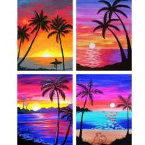 4 Pack 5D DIY Diamond Painting Kits Round Drill Rhinestone Embroidery Art Cross Stitch Paint for Wall Decor Coconut Tree11.8x15.7in by Bemaystar
