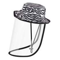 Rhino Valley Anti Saliva Fog UV Hat with Protective Face Shield Cover Bucket Hat, Windproof Dustproof Sandproof Outdoor Fisherman Cap, UPF 50+ Sun Hat for Traving, Camping, Hiking, L Size - Zebra