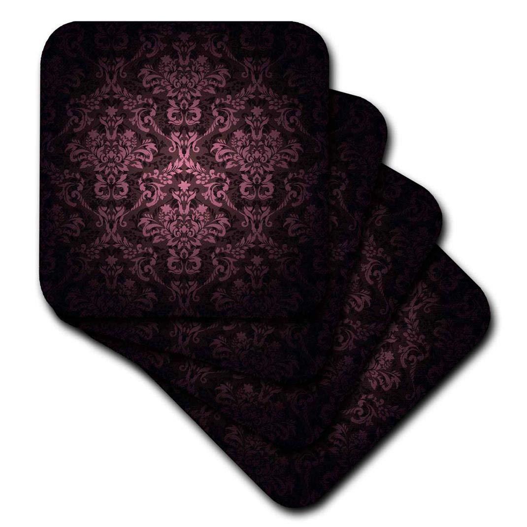 3dRose CST_153076_2 Deep Eggplant Purple Glowing Damask Pattern Soft Coasters, (Set of 8)