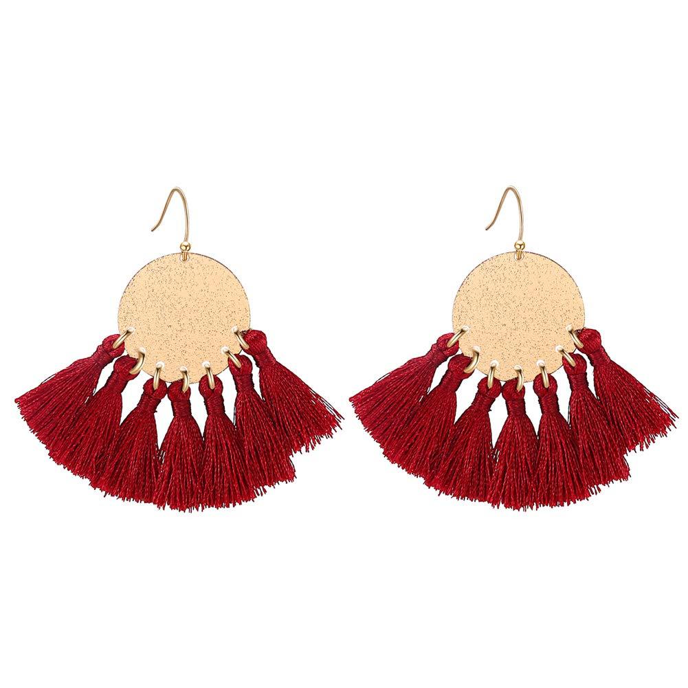 LILIE&WHITE Stamping Tassel Earrings Bohemian Tassle Drop earrings Hanging Fashion Jewelry For Women