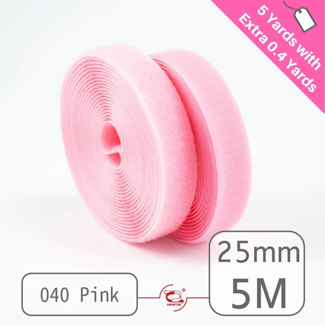 """25mm(1"""") Width 5 Pair Yards Sew-On Hook&Loop Fastener Tape for 12 Colors (#040 Pink)"""