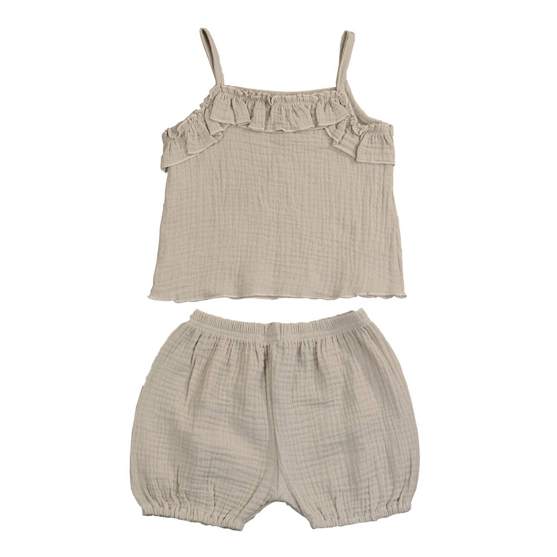 Kids Toddler Infant Baby Girls Summer Shorts Outfits Cotton Ruffles Sleeveless Shirt Tops+Short Pants 2Pc Clothes Set