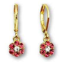 14k Gold Plated Flower Crystal Dangle Earrings for Women   Lever Back earrings for women   Crystal flower earrings for women: Blue Flower Earrings, Pink Flower Earrings and White Flower Earrings