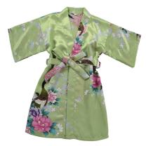JOYTTON Girls' Satin Kimono Peacock Flower Robe for Spa Party Wedding Birthday