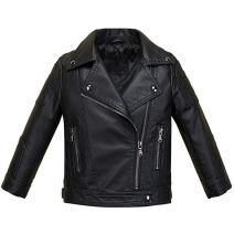 LJYH Boys Girls Fashion PU Leather Jacket Kids Zipper Coat