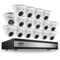 ZOSI 1080p FHD 16 Channel Video Surveillance System,CCTV DVR 16 Channel and 16 x 1080p Dome Camera Outdoor Indoor, Customizable Record Modes and Motion Detection (No Hard Drive)