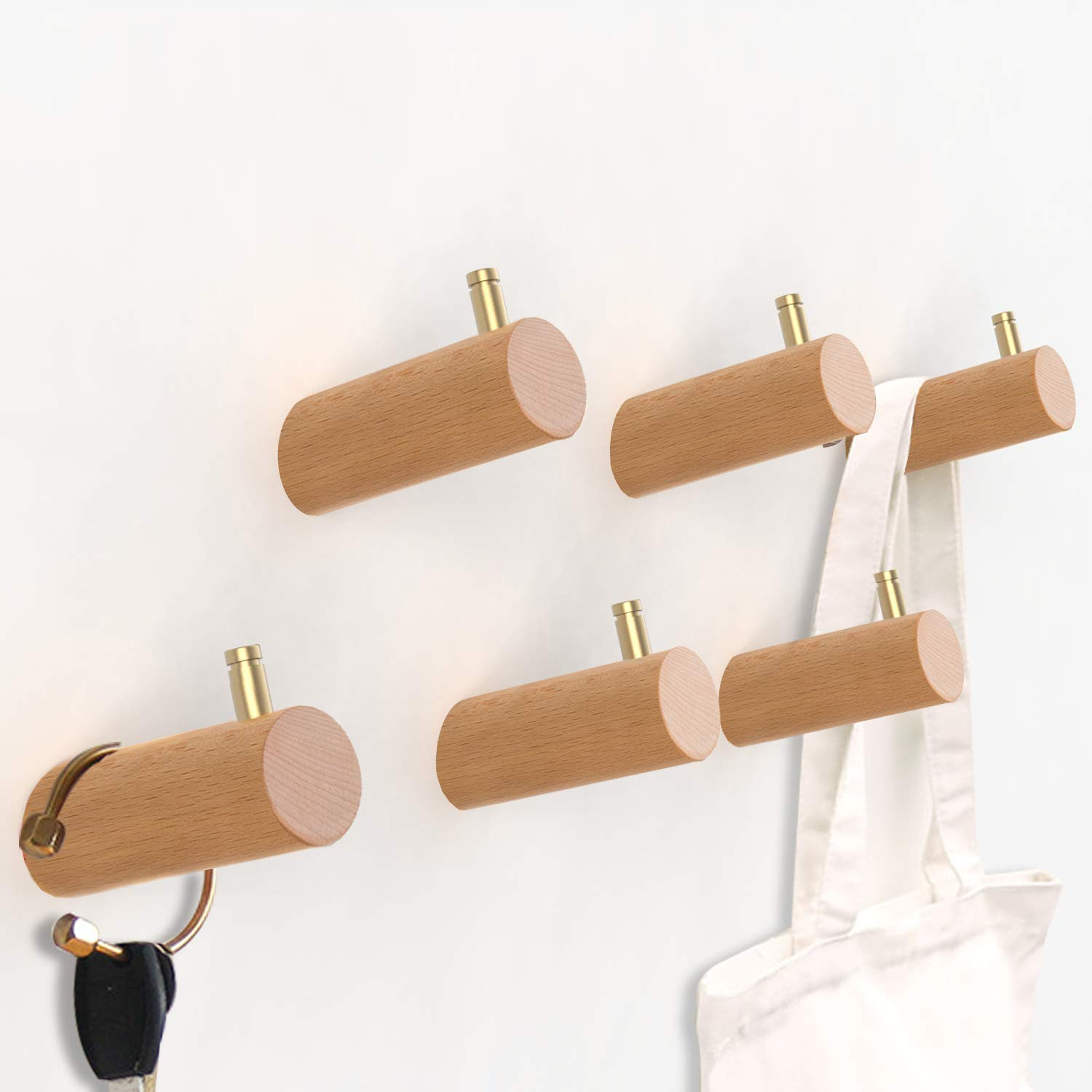 ETECHMART Wood Coat Hooks for Wall, 2021 Updated 6PCS Entryway Coat Rack Wall Mounted, Modern Natural Wooden Towel Hanger with Solid Brass on The Top for Hanging Keys, Plants, Clothes (Beech, 3 Inch)