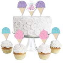 Big Dot of Happiness Scoop Up the Fun - Ice Cream - Dessert Cupcake Toppers - Sprinkles Party Clear Treat Picks - Set of 24