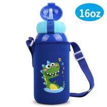Stainless Steel Thermos Kids Water Bottle with Straw,16oz Spill Proof Insulated Water Flask with Straw,Double Wall Dinosaur Travel Tumbler with Flip Straw,Vacuum Water Sippy Cup with Straw for Kids