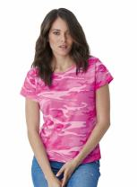 Code Five Ladies' Classic Fit 100% Combed Ringspun Cotton Camouflage Crew Neck Short Sleeve Tee