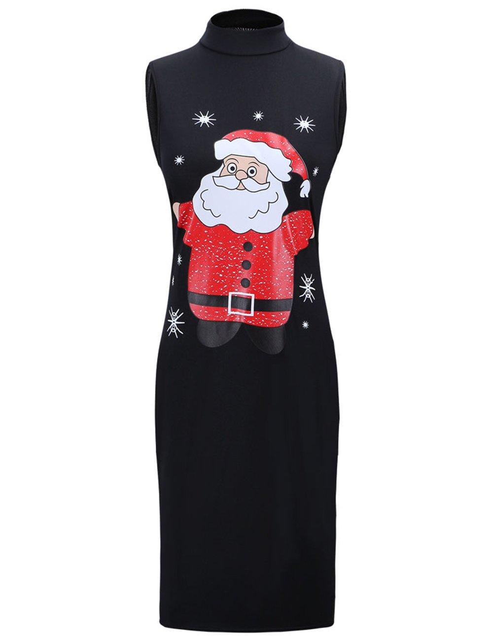 Ruiyige Girls Long Sleeve Mery Christmas Printed Loose Fit Mini Dress,#G102 Black 110cm fits 5-6 Years Old…