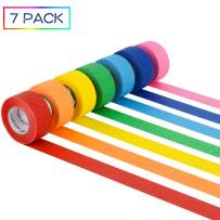 7 Rolls Colored Masking Tape, Colorful Rainbow Painters Tape, Different Colors Decorative Arts & Crafts Tape Set, 1 inch Wide by 16.4 Yard, Rainbow, Pack of 7 by Skytogether