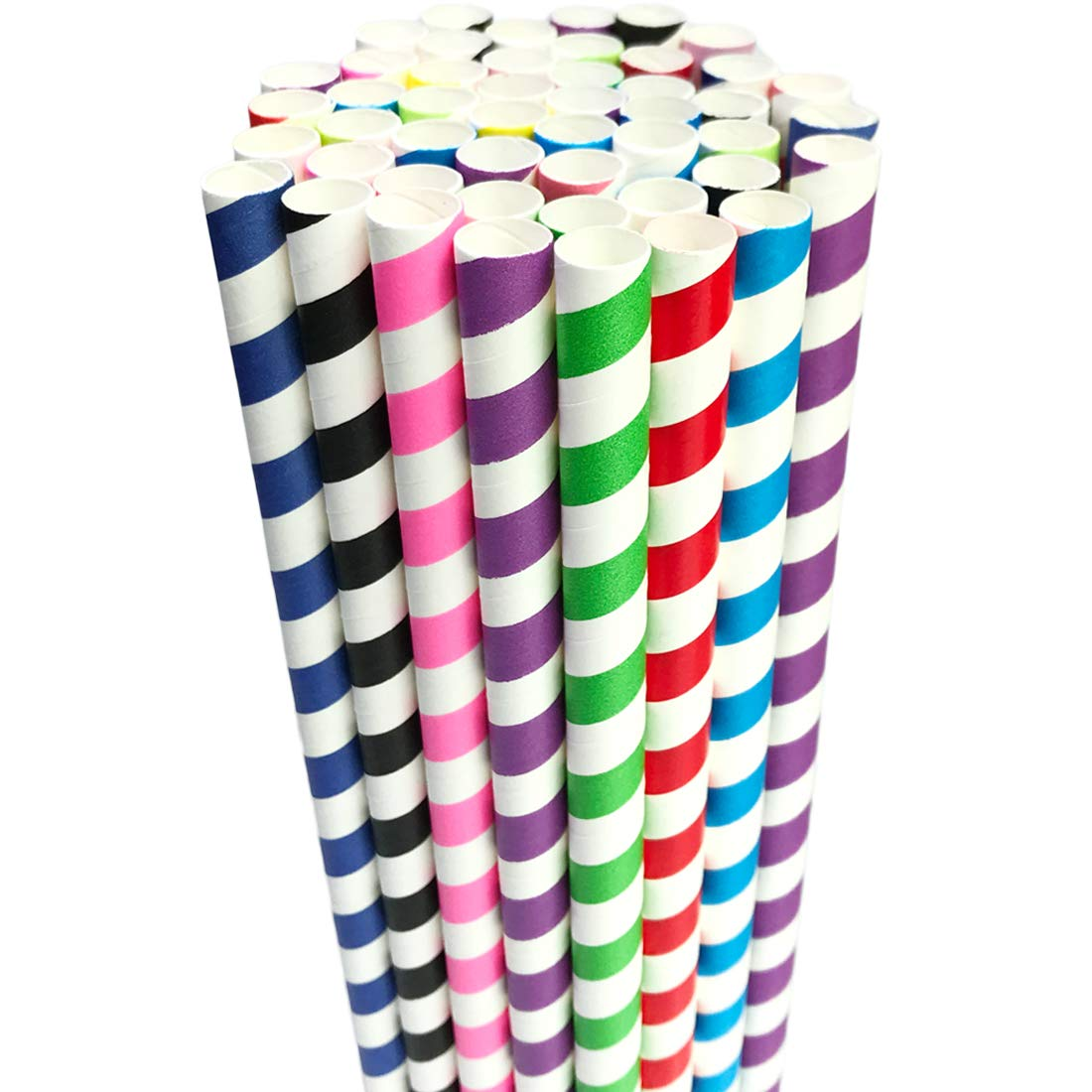 Paper Smoothie Jumbo Straws Disposable 10mm/0.4in Wide Compostable Biodegradable Bubble Tea Milkshake Drinking Straw Wrapped in Bulk Party Supplies Decorations Bpa Free Striped 70Pcs