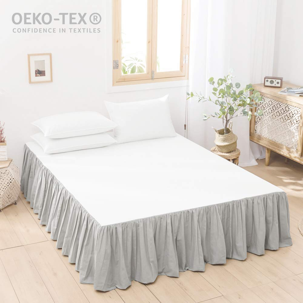 Simple&Opulence 100% Belgian Linen Bed Skirt with Classic 14 inch Tailored Drop Dust Ruffle, Easy Fit Breathable Premium Natural Flax- Pleated Grey, King