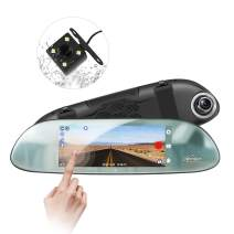 """Openuye Mirror Dash Cam, Backup Camera 7"""" Touch Screen 1080P 170° Wide Angle Night Vision, Waterproof Rearview Car Video Recorder with G-Sensor, Parking Monitor and Loop Recording"""