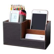 KINGFOM PU Leather Desk Organizer Pen Pencil Holder Business Name Cards Remote Control Holder Brown