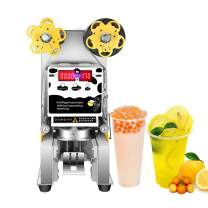IXAER Electric Plastic Cup Sealing Machine 450W Commercial Fully Automatic Boba Bubble Milk Tea Drink Sealer Pressure Paper Plastic Lid Sealing Maker for Bubble Milk Tea Coffee Smoothies Sealer 90/95mm 400-600 cup/h
