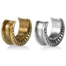 TBOSEN 2 PCS Retro Ear Tunnels and Plugs Stainless Steel Ear Gauges Strechers for Ears 0g - 1 inch