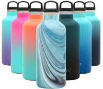 Simple Modern 32oz Ascent Water Bottle - Hydro Vacuum Insulated Tumbler Flask w/Handle Lid - Blue Double Wall Stainless Steel Reusable - Leakproof: Pattern: Ocean Quartz