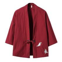 YOUMU Men Japanese Kimono Cardigan Cranes Embroidery Jacket Vintage Loose Japanese Yukata Coat Top Plus Size