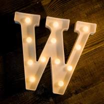Foaky LED Letter Lights Sign Light Up Letters Sign for Night Light Wedding Birthday Party Battery Powered Christmas Lamp Home Bar Decoration (W)