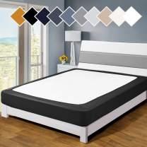 Twin Six Premium Bed Box Spring Cover, King/California King/Split King Size, Update Bed Skirt, Mattress Protector Encasement, Black