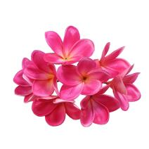 Winterworm Bunch of 10 PU Real Touch Lifelike Artificial Plumeria Frangipani Flower Bouquets Wedding Home Party Decoration (Rose Red)